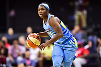 Washington, DC - July 13, 2018: Chicago Sky guard Linnae Harper (23) brings the ball up court during game between the Washington Mystics and Chicago Sky at the Capital One Arena in Washington, DC. The Mystics defeat the Sky 88-72 (Photo by Phil Peters/Media Images International)