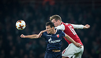 Slavoljub Srnic of Crvena Zvezda (Red Star Belgrade) & Rob Holding of Arsenal during the UEFA Europa League group stage match between Arsenal and FC Red Star Belgrade at the Emirates Stadium, London, England on 2 November 2017. Photo by Andy Rowland.