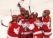 Sarah Steele (BU - 4), Sammy Davis (BU - 16), Nina Rodgers (BU - 23), Samantha Sutherland (BU - 20), Savannah Newton (BU - 28) - The Boston College Eagles defeated the visiting Boston University Terriers 5-3 (EN) on Friday, November 4, 2016, at Kelley Rink in Conte Forum in Chestnut Hill, Massachusetts.The Boston College Eagles defeated the visiting Boston University Terriers 5-3 (EN) on Friday, November 4, 2016, at Kelley Rink in Conte Forum in Chestnut Hill, Massachusetts.