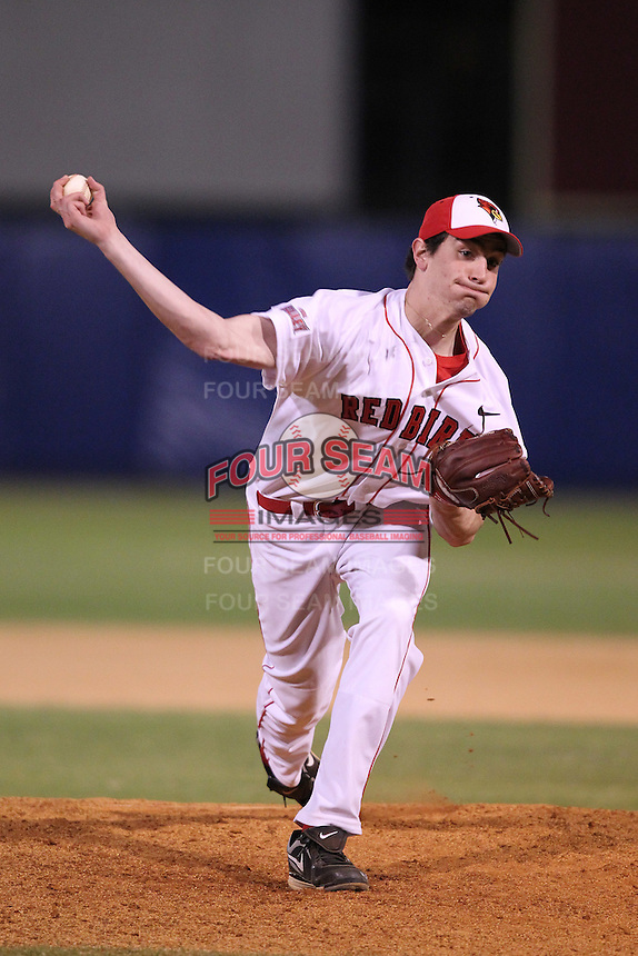 Illinois State Redbirds pitcher Dan Savas #11 during a game vs. the Minnesota State Mavericks at Chain of Lakes Park in Winter Haven, Florida;  March 4, 2011.  Illinois State defeated Minnesota State 3-2.  Photo By Mike Janes/Four Seam Images