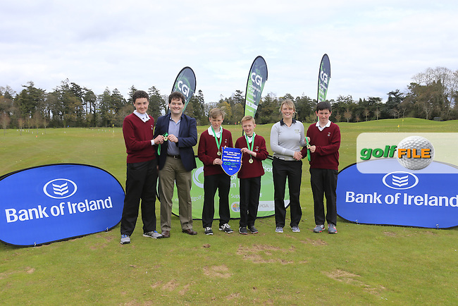 Gavin Kelly Bank Of Ireland and Kate Whyte CGI present Munster regional finalist Ballybunnion Golf Club with there medals and pendant at the national finals of the Dubai Duty Free Irish Open Skills Challenge supported by Bank of Ireland in conjunction with CGI at the GUI National Golf Academy, Carton House, Maynooth, Co Kildare. 24/04/2016.<br /> Picture: Golffile | Fran Caffrey<br /> <br /> <br /> All photo usage must carry mandatory copyright credit (&copy; Golffile | Fran Caffrey)
