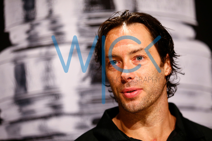 Matt Cullen #7 of the Pittsburgh Penguins speaks during media day prior to the start of the Stanley Cup Final series between the Pittsburgh Penguins and the San Jose Sharks at Consol Energy Center in Pittsburgh, Pennslyvania on May 29, 2016. (Photo by Jared Wickerham / DKPS)