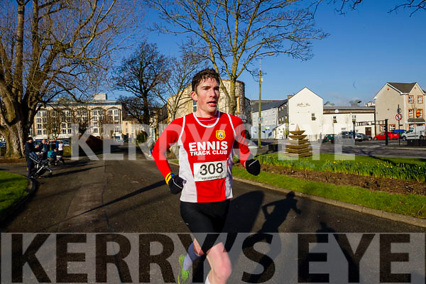 Brian Murphy, pictured at the finish line at the Kerry's Eye Valentines Weekend 10 mile road race on Sunday.