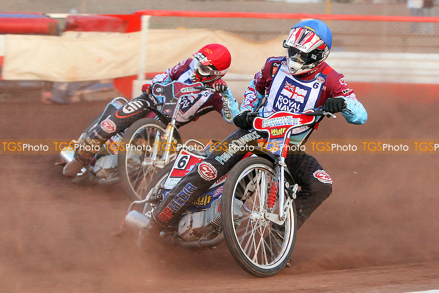 Heat 11: Phil Morris (blue) and Joonas Kylmakorpi - Sky Sports Elite League Speedway at Arena Essex Raceway, Purfleet, Essex - 24/06/09- MANDATORY CREDIT: Gavin Ellis/TGSPHOTO - Self billing applies where appropriate - 0845 094 6026 - contact@tgsphoto.co.uk - NO UNPAID USE.