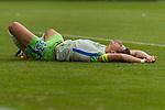 09.09.2017, Volkswagen Arena, Wolfsburg, GER, 1.FBL, VfL Wolfsburg vs Hannover 96<br /> <br /> im Bild<br /> Mario Gomez (VFL Wolfsburg #33) liegt nach Zweikampf am Boden mit Schmerzen,<br /> <br /> Foto &copy; nordphoto / Ewert