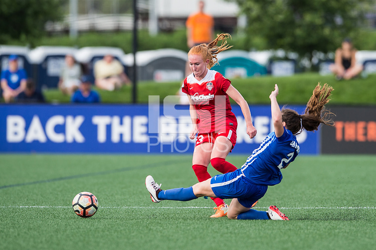 Boston, MA - Saturday July 01, 2017: Tori Huster and Allysha Chapman during a regular season National Women's Soccer League (NWSL) match between the Boston Breakers and the Washington Spirit at Jordan Field.