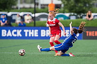 Boston, MA - Saturday July 01, 2017: Tori Huster and Allysha Chapman during a regular season National Women's Soccer League (NWSL) match between the Boston Breakers and the Washington Spirit at Jordan Field.