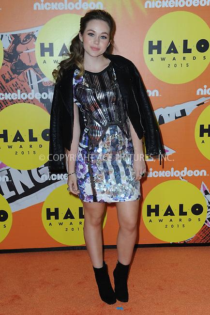 WWW.ACEPIXS.COM<br /> November 14, 2015 New York City<br /> <br /> Brec Bassinger attending the 2015 Nickelodeon HALO Awards at Pier 36 on November 14, 2015 in New York City.<br /> <br /> Credit: Kristin Callahan/ACE<br /> Tel: (646) 769 0430<br /> e-mail: info@acepixs.com<br /> web: http://www.acepixs.com