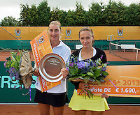 2013-08-17, Netherlands, Raalte,  TV Ramele, Tennis, NRTK 2013, National Ranking Tennis Champ,  Danielle Harmsen winner and Olga Kalyuzhnaya runner up with their trophy&quot;s<br /> <br /> Photo: Henk Koster