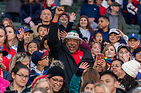 CARSON, CA - FEBRUARY 9: Cody Press motions to his daughter, Christen Press #20 of the United States during a game between Canada and USWNT at Dignity Health Sports Park on February 9, 2020 in Carson, California.