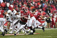 NWA Democrat-Gazette/J.T. WAMPLER Arkansas' Austin Allen rolls out to make a pass against Mississippi State Saturday Nov. 18, 2017 at Donald W. Reynolds Razorback Stadium in Fayetteville. Arkansas lost 21-28.