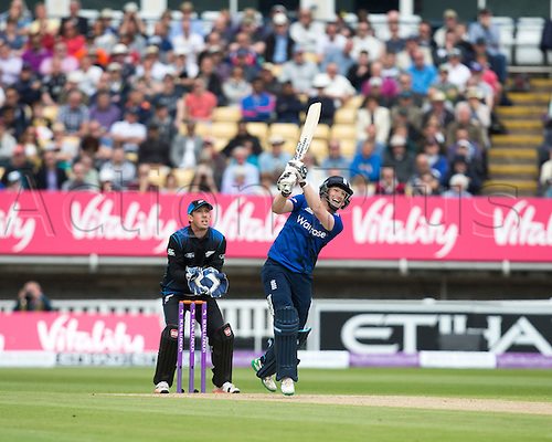 09.06.2015.  Birmingham, England. T20 One Day International. England versus New Zealand. Eoin Morgan of England watches as his shot goes for the first six of the match.