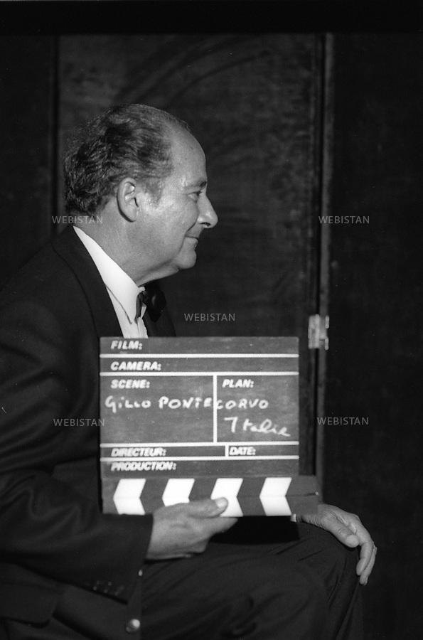Mai 1989. France. La réalisatrice italien Gillo Pontecorvo. May 1989. France. The Italian film maker Gillo Pontecorvo.