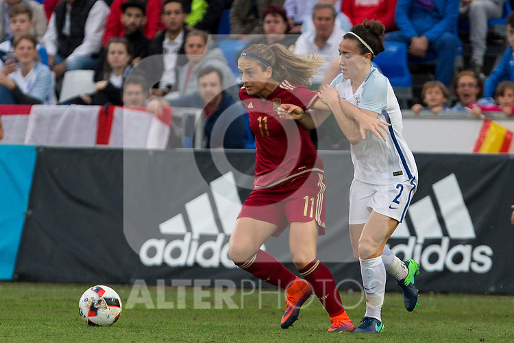 Spain's Alexia Putellas and England's Lucy Bronze during the frendly match between woman teams of  Spain and England at Fernando Escartin Stadium in Guadalajara, Spain. October 25, 2016. (ALTERPHOTOS/Rodrigo Jimenez)