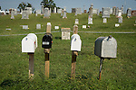 Cemetery mail boxes, headstones in Lutheran Cemetery, Worms, Nebraska