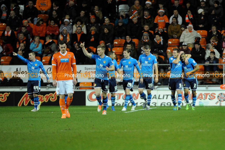 Lee Peltier (right) of Leeds United celebrates the opener - Blackpool vs Leeds United - Sky Bet Championship Football at Bloomfield Road, Blackpool, Lancashire - 26/12/13 - MANDATORY CREDIT: Greig Bertram/TGSPHOTO - Self billing applies where appropriate - 0845 094 6026 - contact@tgsphoto.co.uk - NO UNPAID USE