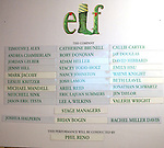 Cast Board for the First Performance Curtain Call of the Broadway Holiday Hit Musical 'Elf'  at the Al Hirschfeld  Theatre in New York City on 11/09/2012