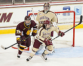 Shara Jasper (UMD - 71), Kristina Brown (BC - 2), Megan Miller (BC - 32) - The visiting University of Minnesota Duluth Bulldogs defeated the Boston College Eagles 3-2 on Thursday, October 25, 2012, at Kelley Rink in Conte Forum in Chestnut Hill, Massachusetts.