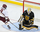 Austin Cangelosi (BC - 9), Derek Shatzer (CC - 30) - The Boston College Eagles defeated the visiting Colorado College Tigers 4-1 on Friday, October 21, 2016, at Kelley Rink in Conte Forum in Chestnut Hill, Massachusetts.The Boston College Eagles defeated the visiting Colorado College Tiger 4-1 on Friday, October 21, 2016, at Kelley Rink in Conte Forum in Chestnut Hill, Massachusett.
