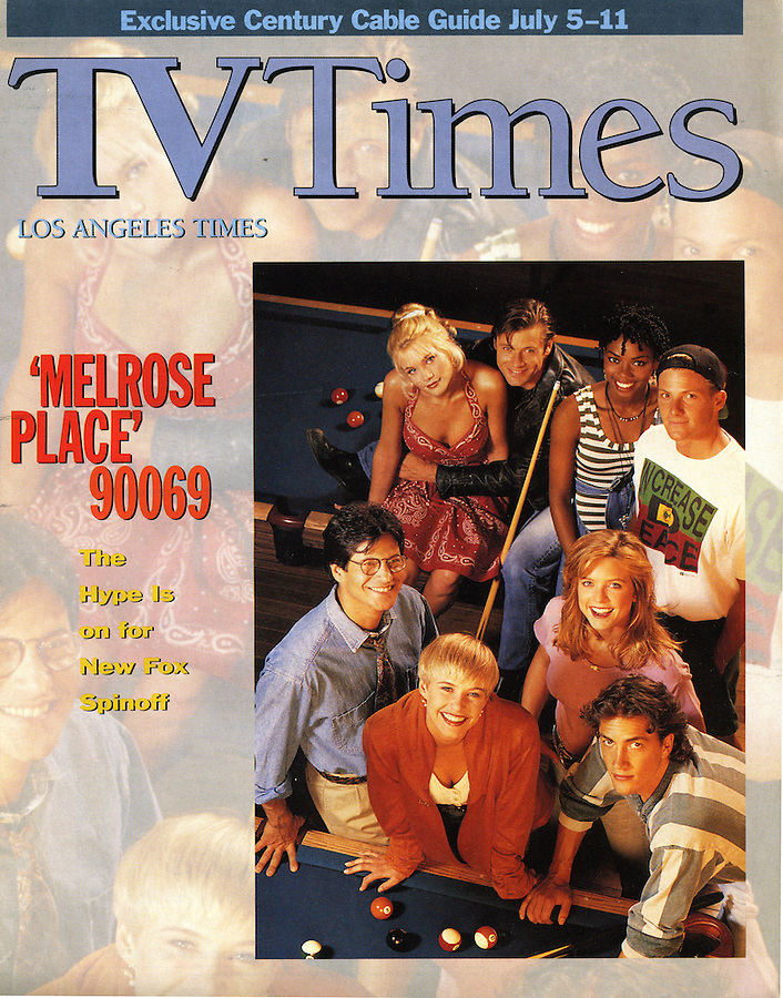 Shot on TV set without art direction. Melrose Place cast on the cover of the Los Angeles Times TV Times magazine.