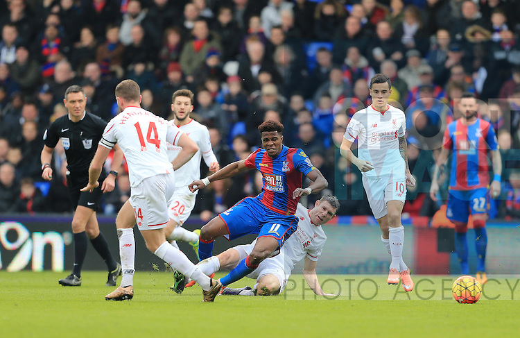 Liverpool's James Milner gets sent off for this tackle on Crystal Palace's Wilfred Zaha<br /> <br /> - English Premier League - Crystal Palace vs Liverpool  - Selhurst Park - London - England - 6th March 2016 - Pic David Klein/Sportimage