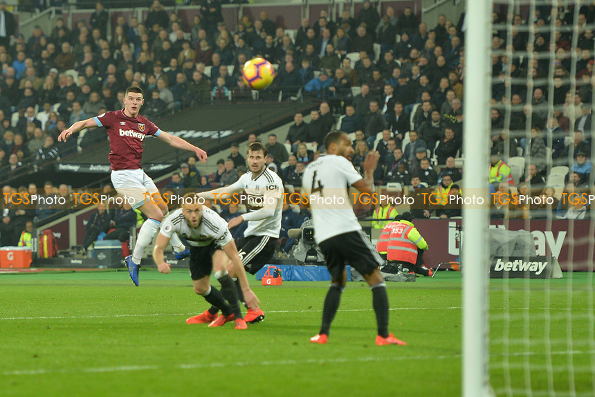 Declan Rice of West Ham United shoots wide during West Ham United vs Fulham, Premier League Football at The London Stadium on 22nd February 2019