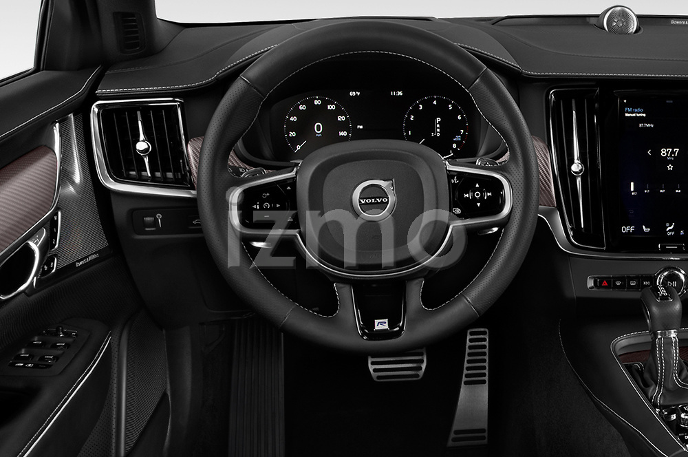Car pictures of steering wheel view of a 2018 Volvo V90 R-Design AWD T6  5 Door Wagon