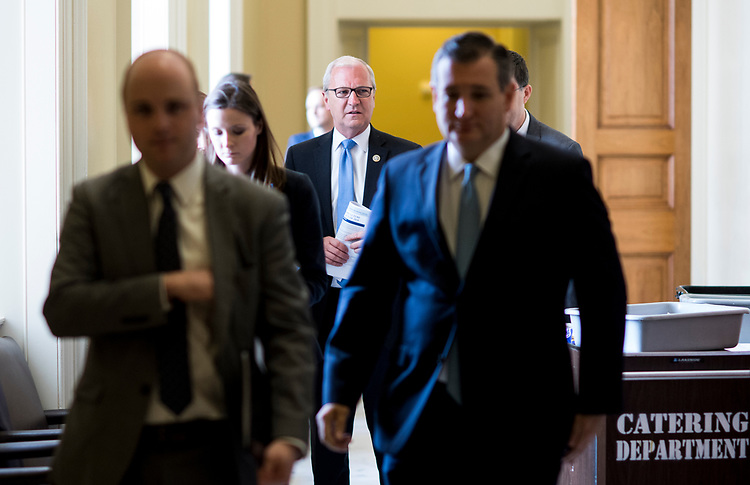UNITED STATES - JUNE 26: Rep. Kevin Cramer, R-N. Dak., leaves the Senate Republicans' policy lunch in the Capitol on Tuesday, June 26, 2018. (Photo By Bill Clark/CQ Roll Call)