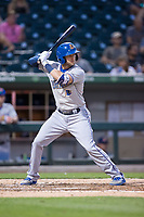 Jake Hager (2) of the Durham Bulls at bat against the Charlotte Knights at BB&T BallPark on May 15, 2017 in Charlotte, North Carolina. The Knights defeated the Bulls 6-4.  (Brian Westerholt/Four Seam Images)