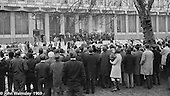 US President Richard M Nixon walking down the steps at the US Embassy in Grosvenor Square, London.  27th February 1969.