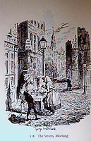 "London: Historical, George Cruikshank, ""The Streets, Morning"". For Dickens, SKETCHES BY BOZ, 1839.  Reference only."