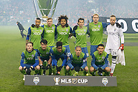 Toronto, ON, Canada - Saturday Dec. 10, 2016: Seattle Sounders FC Starting Eleven during the MLS Cup finals at BMO Field. The Seattle Sounders FC defeated Toronto FC on penalty kicks after playing a scoreless game.
