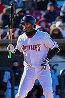 Wisconsin Timber Rattlers third baseman Gabriel Garcia (4) at the plate during a Midwest League game against the Beloit Snappers on April 7, 2018 at Fox Cities Stadium in Appleton, Wisconsin. Beloit defeated Wisconsin 10-1. (Brad Krause/Four Seam Images)