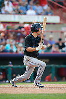 Akron RubberDucks second baseman Tyler Krieger (15) flies out during a game against the Erie SeaWolves on August 27, 2017 at UPMC Park in Erie, Pennsylvania.  Akron defeated Erie 6-4.  (Mike Janes/Four Seam Images)