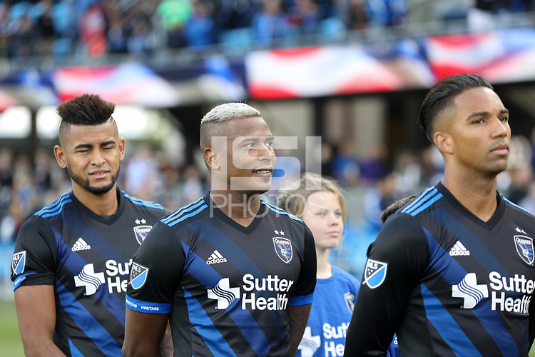 San Jose, CA - Saturday May 19, 2018: Harold Cummings during a Major League Soccer (MLS) match between the San Jose Earthquakes and D.C. United at Avaya Stadium.