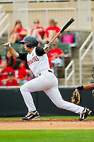 Ross Wilson #2 of the Kannapolis Intimidators follows through on his swing against the West Virginia Power at Fieldcrest Cannon Stadium on April 20, 2011 in Kannapolis, North Carolina.   Photo by Brian Westerholt / Four Seam Images