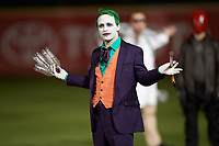 An actor portraying The Joker during an on field performance after a Buffalo Bisons game against the Gwinnett Braves on August 19, 2017 at Coca-Cola Field in Buffalo, New York.  The Bisons wore special Superhero jerseys for Superhero Night.  Gwinnett defeated Buffalo 1-0.  (Mike Janes/Four Seam Images)