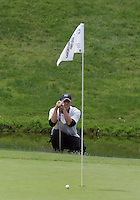 20 May, 2010:  Middle Tennessee State's Hunter Green looks over his shot on hole nine of the NCAA Division I Regionals tournament Thursday at Gold Mountain Golf Course in Bremerton, WA.