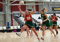 01.10.2015 Tokoroa's Tyla Chase in action during the Manawatu v Tokoroa netball match at the Netball NZ National Champs played at the ASB Sports Centre in Wellington. Mandatory Photo Credit ©Michael Bradley.