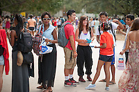 From left, Tyler Berkeley Brewington '14, Mike Ma '16, Cassie Shultz '16, Kevin Liu '16 and Shaila Ramachandran '15.<br />