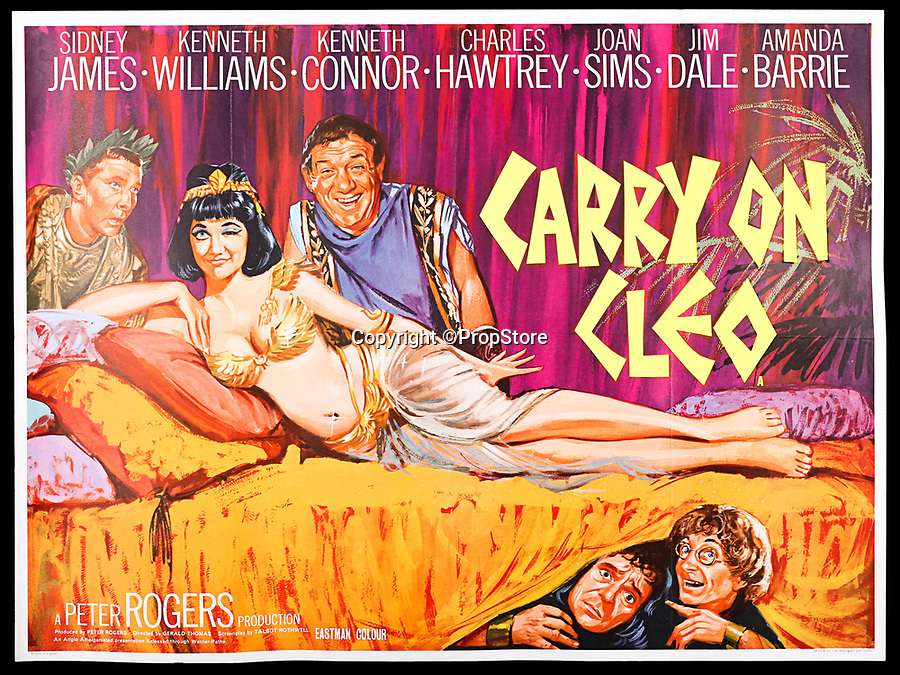 BNPS.co.uk (01202 558833)<br /> Pic: PropStore/BNPS<br /> <br /> What a Carry On...banned poster set to sell for £3000.<br /> <br /> An incredibly rare movie poster from the slapstick classic Carry On Cleo has finally had the last laugh, 55 years after it was banned from use.<br /> <br /> It's now twice as valuable to movie buffs as the original Cleopatra poster starring Richard Burton and Elizabeth Taylor that it attempted to lampoon.<br /> <br /> The artwork for the 1964 comedy classic had to be binned after movie bosses of the far more expensive Taylor/Burton film from the previous year had complained about blatant copyright abuse.<br /> <br /> The poster for the original 1963 epic showed Taylor as Cleopatra sprawled on a bed with Burton's Mark Anthony stood over her.<br /> <br /> The tongue-in-cheek Carry On version featured a winking Amanda Barrie and a leering Sid James  stood behind her. <br /> <br /> The Prop Store are also selling an original Cleopatra poster in the same sale with a estimate of £1500...only half the value of the Carry On version.