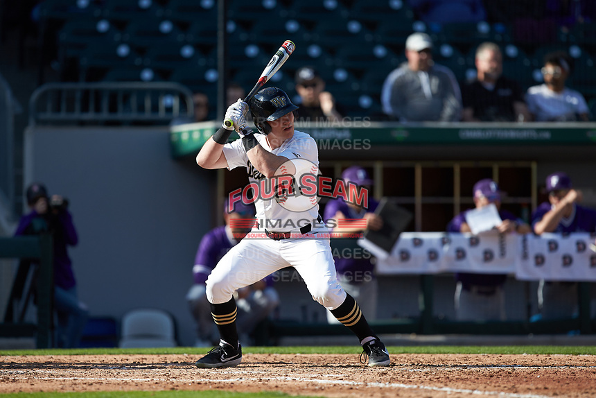 Chris Lanzilli (24) of the Wake Forest Demon Deacons at bat against the Furman Paladins at BB&T BallPark on March 2, 2019 in Charlotte, North Carolina. The Demon Deacons defeated the Paladins 13-7. (Brian Westerholt/Four Seam Images)
