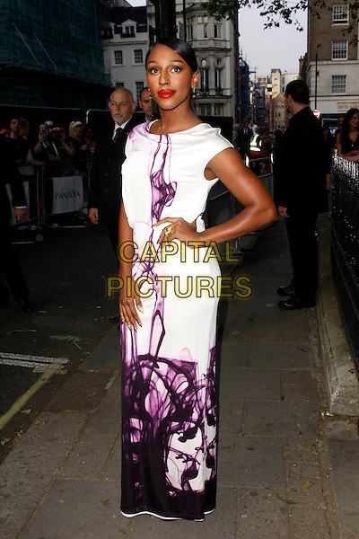 Alexandra Burke.Arrivals at the Glamour Women Of The Year Awards, Berkeley Square Gardens, London, England..May 29th, 2012.full length white purple dress print hand on hip  .CAP/AH.©Adam Houghton/Capital Pictures.