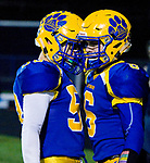 SEYMOUR, CT-112217JS11- Seymour's Bobby Melms (6) is congratulated but teammate Cade Klarides-Ditria (58) after scoring a touchdown during their game against Woodland Wednesday at Seymour High School. Seymour defeated the Hawks  56-8. Jim Shannon Republican-American