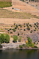 douro river and steep vineyards ferreira sign douro portugal