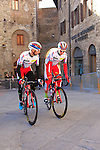 Team Katusha riders make their way to sign on before the start of the 2015 Strade Bianche Eroica Pro cycle race 200km over the white gravel roads from San Gimignano to Siena, Tuscany, Italy. 7th March 2015<br /> Photo: Eoin Clarke www.newsfile.ie