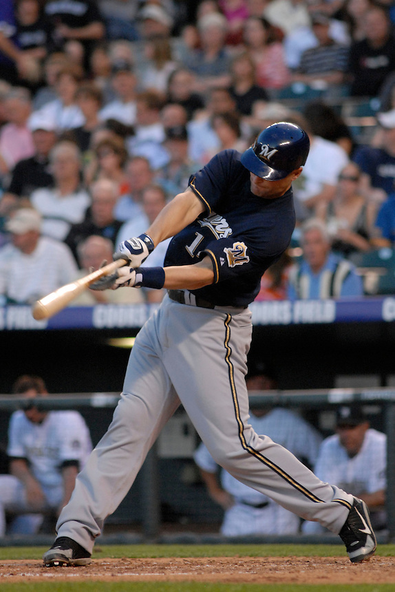 06 June 08: Milwuakee Brewers 3rd baseman Russell Branyan hits a homerun against the Colorado Rockies. The Rockies defeated the Brewers 6-4 at Coors Field in Denver, Colorado on June 6, 2008. For EDITORIAL use only