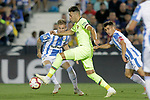 CD Leganes' Raul Garcia (l) and Unai Bustinza (r) and FC Barcelona's Munir El Haddadi during La Liga match. September 26,2018. (ALTERPHOTOS/Acero)