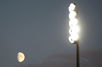 A general view of the moon and floodlights during the The Leasing.com Trophy match between AFC Wimbledon and Leyton Orient at the Cherry Red Records Stadium, Kingston, England on 8 October 2019. Photo by Carlton Myrie / PRiME Media Images.