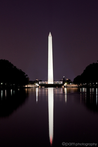 Washington monument and reflection before dawn